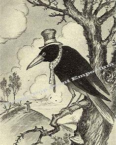 8x10 Art Print  Whimsical Hobo Raven Crow in Tree by fringepop, $10.00