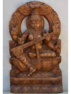 Wooden Saraswathi With Arc With Wax Brown Finish Wooden Horse, Wood Carving Art, Wood Wall Decor, Indian Paintings, House Painting, Wood Crafts, Wax, Lion Sculpture