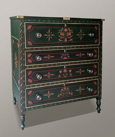 Current Gallery :: Painted Furniture by Dan & Marlene Coble Antique chest of drawers, with painting by Dan Coble in the Mahantongo Valley Style decoration