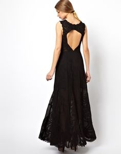 Image 1 ofASOS BLACK Embroidered Maxi With Open Back