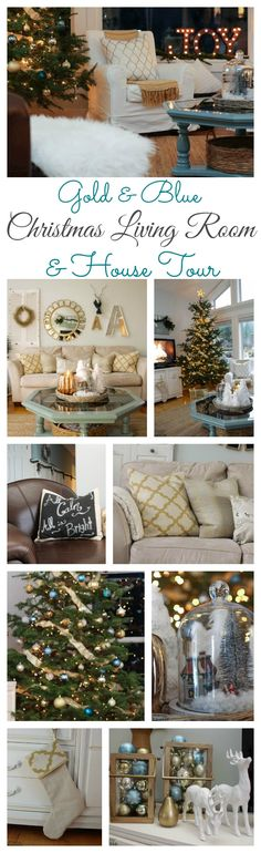 Come on by for the tour of a beautifully decorated lake cottage style Living Room for Christmas with all shades of blues and gold