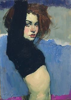 """Side View"" - Malcolm T. Liepke (b. 1953), oil on canvas {contemporary figurative #impressionist art beautiful redhead female face woman torso portrait painting}"