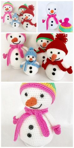 Crochet Christmas Decorations, Christmas Craft Projects, Christmas Crochet Patterns, Holiday Crochet, Crochet Mandala Pattern, Crochet Amigurumi Free Patterns, Crochet Dolls, Free Crochet, Crochet Snowman