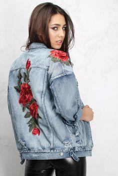 Rose Embroidered Denim Jacket