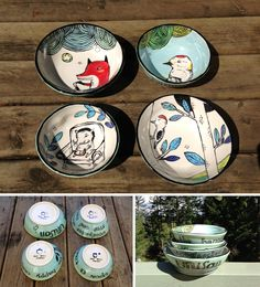 Hand painted bowls by Cary Lane aka The Bowl Maker