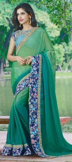 711587 Green  color family Embroidered Sarees, Party Wear Sarees in Faux Chiffon fabric with Border, Machine Embroidery, Thread work   with matching unstitched blouse.