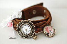 Shabby Roses © Bracelet  Leather Watch
