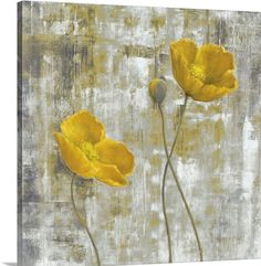 Contemporary artwork of two yellow flowers and a third budding flower. The background is abstract with colors that compliment the flowers. Yellow Flowers I Wall Art By: Carol Black from Great Big Canvas Canvas Art Prints, Painting Prints, Canvas Wall Art, Big Canvas, Black Canvas, Canvas Size, Painting Canvas, Oil Paintings, Art Sur Toile