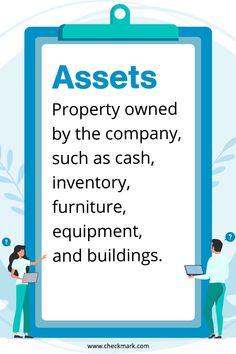 Assets: Property owned by the company, such as cash, inventory, furniture, equipment and buildings. Accounting Basics, Accounting Principles, Bookkeeping And Accounting, Bookkeeping Business, Small Business Accounting, Accounting And Finance, Accounting Software, Business Marketing, Accounting Cycle