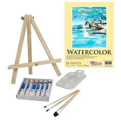 13 Piece Watercolor Painting Set with Mini Table Easel
