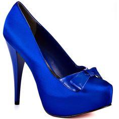 Paris Hilton Vee - Royal Blue Satin ($90) ❤ liked on Polyvore