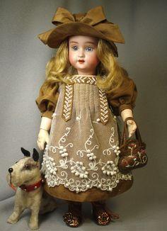 Simon & Halbig antique doll.  Bleuette LSDS repro dress by Arlene Hayes.