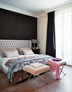 master bedroom ideas- dark focal wall with soft whites and creams