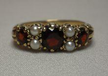 Antique Garnet & Pearl Ring In 9 CT. Rose Gold 3 Stone Rings, Pearl Rings, Garnet, Class Ring, Jewelery, Dream Wedding, Sparkle, Beaded Bracelets, Bling
