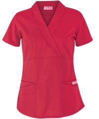 Butter-Soft Scrubs by UA, Style #  UAS686C;  Solid Shawl Collar Mock Wrap Top #scrubs, #medicaluniforms, #fashion, #coral tulip, #nurse