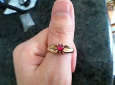 Art Deco 14K Gold & Ruby Ring by VeryVintageJewelsArt on Etsy