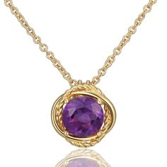 Gold Plated Metallic Halo Amethyst Solitaire Pendant | Joolwe.com Online Jewelry Store