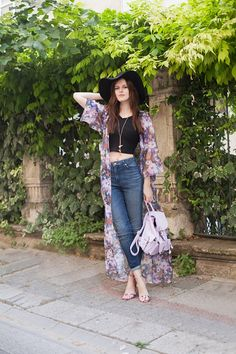 full length purple floral print kimono black cropped top skinny jeans