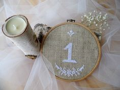 Embroidered Wedding Table Number Hoop by MelindasSewingCorner