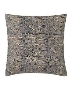 Block-printed cushion cover in Japanese print