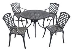 """Crosley Furniture Sedona 42-Inch Five Piece Cast Aluminum Outdoor Dining Set with High Back Arm Chairs in Black Finish by Crosley Furniture. $649.99. UV Resistant. Heavy Duty Cast Aluminum Construction. Includes 42"""" Round Table  and  Four High Back Arm Chairs. Contoured Seat for Comfort. Maintenance Free. It may be hot outside, but you'll feel cool kicking back in our heavy duty, solid-cast aluminum furniture. Designed for style and built to last, this outdoor dining set..."""