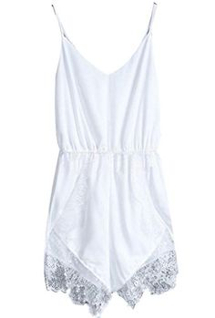 Amoin Women's Lace Chiffon Sleeveless Jumpsuit Rompers *** To view further for this item, visit the image link.