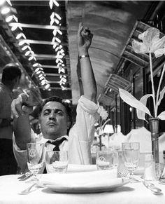 "Federico Fellini on the set of ""8½"", ca 1962."