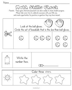 FREEBIE 22 Kindergarten Common Core aligned math skill checks