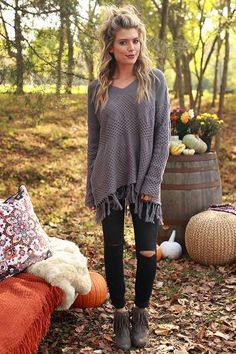Cozy by the fireside fringe sweater in dark heirloom lilac sweater weather. Cute Fall Outfits, Winter Fashion Outfits, Fall Winter Outfits, Autumn Winter Fashion, Casual Outfits, Girly Outfits, Fashion Clothes, Bohemian Fall Fashion, Rustic Outfits