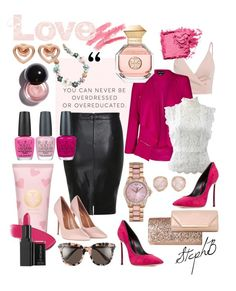 """Take Me Away to Lovers' Lane... #vday #fiftyshadesofpink"" by stephenierae on Polyvore featuring City Chic, Oscar de la Renta, Casadei, Topshop, J.Crew, Marc by Marc Jacobs, Monica Vinader, Juicy Couture, Jessica McClintock and Dorothy Perkins"
