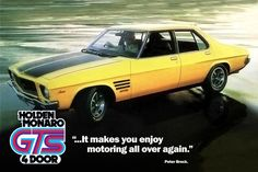 1973 Holden HQ Monaro GTS advert These were fun on dirt Australian Muscle Cars, Aussie Muscle Cars, Hq Holden, Holden Australia, South Australia, Holden Monaro, Old Classic Cars, Weird Cars, Car Advertising