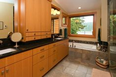 Sleek, contemporary bathroom cabinets.