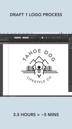 Logo Discover LOGO DESIGN TIMELAPSE - Draft 1 for Tahoe Dog Branding timelapse in Adobe Illustrator of logo design process for Dog themed branding - Tahoe Dog Lifestyle Company Web Design, Dog Logo Design, Graphic Design Tutorials, Logos Vintage, Logos Retro, Dog Branding, Branding Design, Typography Logo Design, Inspiration Logo Design