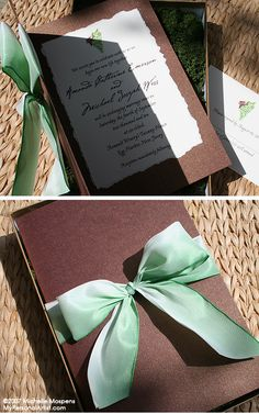 Invitation folder card with hand tied ribbon into a bow nestled in a box of moss. www.mypersonalart...