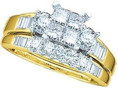 10k Yellow Gold Quad-Princess Diamond Womens Ladies Bridal Wedding Engagement Ring & Anniversary Band Set Size... $829.99