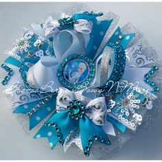 Elsa FROZEN Large stacked hair bow Blingd by BoobooBerrys on Etsy, $12.50