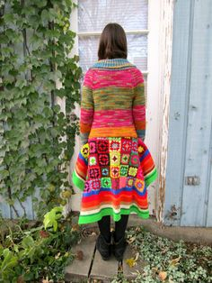 OOAK psychedelic granny square crochet sweater coat, size Small.  One of a kind, 100% recycled excitement! Gorgeous shades of pink, yellow, blue, orange, and green. Banish the winter blahs!  * size Small * 32 - 42 inches long (81-107cm) * one button closure * deep V front * open bust * 100% recycled acrylic, wool  Immediate shipping worldwide; buy with confidence.  Got a minute? Browse the racks of my shop for upcycled tops, dresses, and sweaters!  Follow me on Facebook for special coupon…
