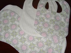 Boutique Baby Bibs and  Burp Cloths Gift Set for Girl Pink & Mint Green Flowers and Dots by PurpleLadybugGifts on Etsy