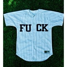 Fuck You Baseball Jersey from Shop Proper ($85) ❤ liked on Polyvore featuring tops, shirts, jersey, jersey tops, baseball jersey shirts, blue top, jersey knit tops and jersey knit shirts