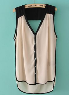 Beige V Neck Sleeveless Buttons Dipped Hem Blouse - Sheinside.com