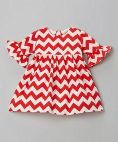 Red Chevron Ruffle Dress