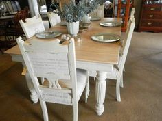 Beautiful Edwardian table and chairs, techniqued with a country grey mix and then dry brushed with Old white Table And Chairs, Dining Table, Dry Brushing, Rustic, Country, Antiques, Store, Grey, Furniture