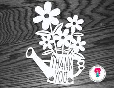 Thank You Flower Paper Cut Template, SVG Cutting File for Cricut / Silhouette and PDF Printable For Hand Cutting, Digital Download by DigitalGems on Etsy