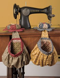 Pincushion and notions bag for the sewing machine.
