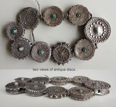 These gorgeous antique silver discs are Kazak from Afghanistan.
