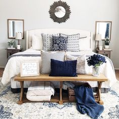 Master bedroom inspiration. Cream and navy blue bedroom.
