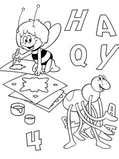 Maya Bee Coloring pages for kids. Bee Coloring Pages, Online Coloring Pages, Printable Coloring Pages, Coloring Books, Bee Pictures, Montessori Math, Chibi, Diy And Crafts, Drawing Tips