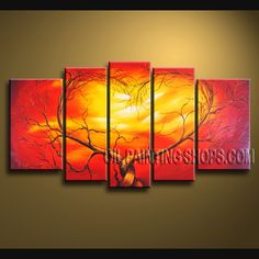 Colorful Contemporary Wall Art Oil Painting On Canvas For Living Room Tree. This 5 panels canvas wall art is hand painted by A.Qiang, instock - $145. To see more, visit OilPaintingShops.com
