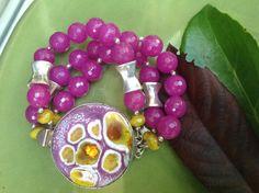 Dark Purple Rose Jade Triple Wire Bracelet by JewelrybyKellyWalker