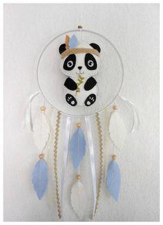 Mobile bébé Attrape-rêves Panda feutrine Décoration chambre